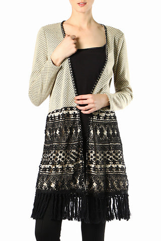 Casual Cardigan with Lace & Fringe Detail