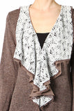 Floral Trim Cardigan with Hook Eye Closure