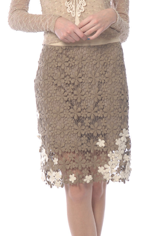 Skirt with Floral Applique