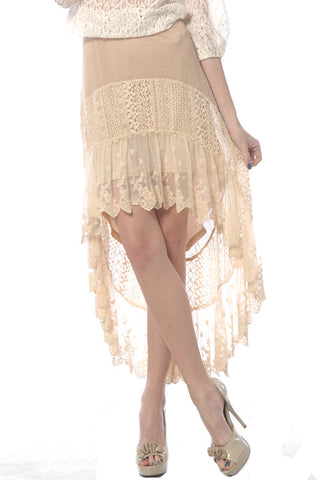 Lace Skirt with Tulle Trim Slip