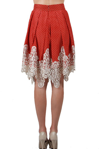 Polka Dotted Midi Skirt with Crochet Trim