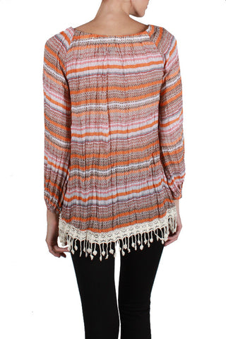 Striped Long Sleeve Top with Fringe Bottom