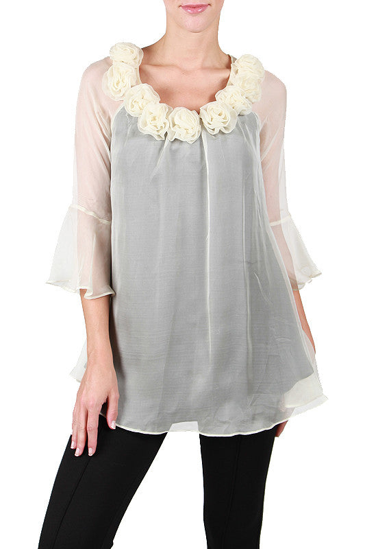 Two-Toned Bell Sleeve Top with Roses on the Neckline