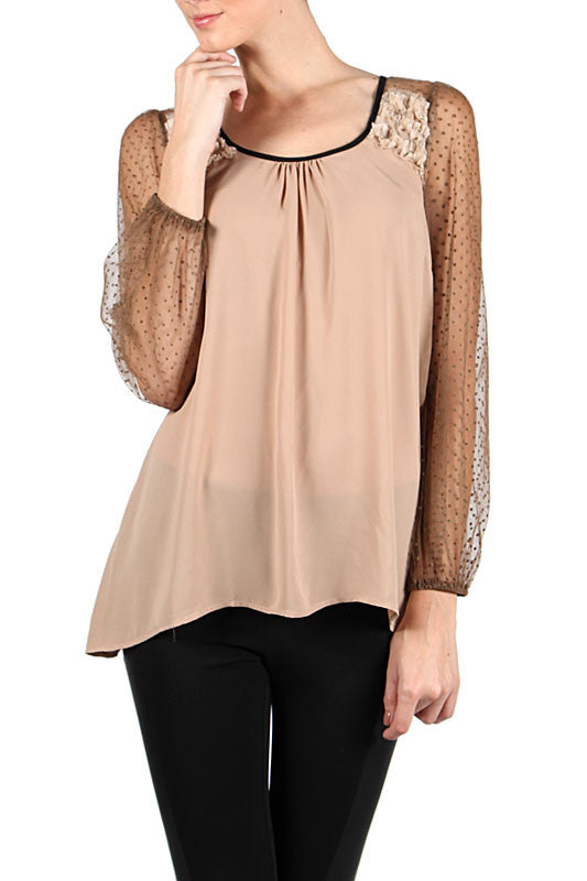 Sheer Sleeve Top with Bow on the Back