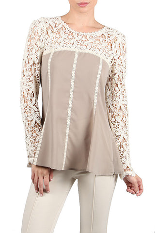 Chiffon Top with Lace Detail