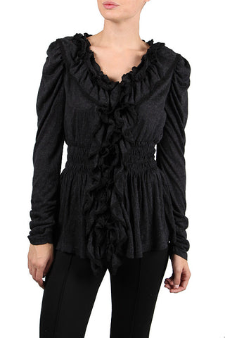 Long Cardigan with Ruffle Detail