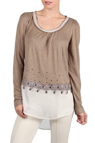 Long Sleeve Chiffon Top