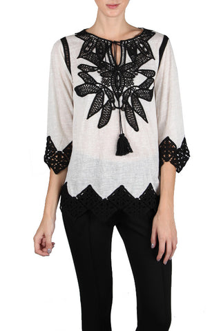 Crochet Trim V-Neck Top with Floral Embroidery