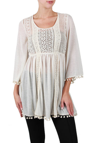 Cotton Dress with Lace Detail