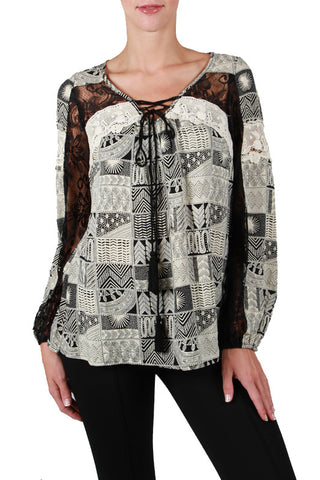 Long Sleeve Printed Top with Lace