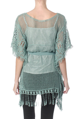 Two Toned Lace Overlay Top with Fringe