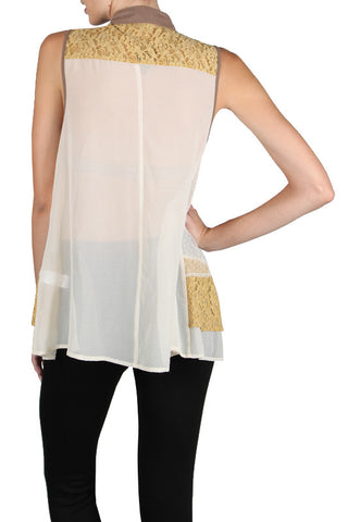 Multi Lace Layered Sleeveless Blouse