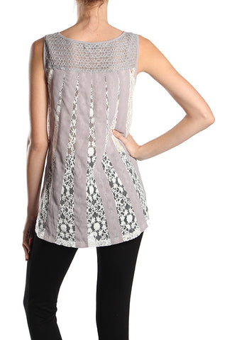 Round Neck Tank Top with Crochet Back