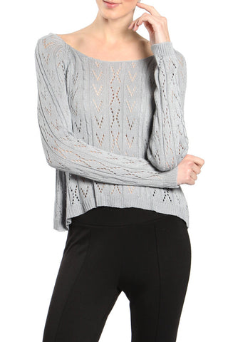 Cropped Sweater Top with Bow Ties on the Back