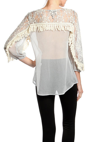 Fringe Trim Lace Neckline Top