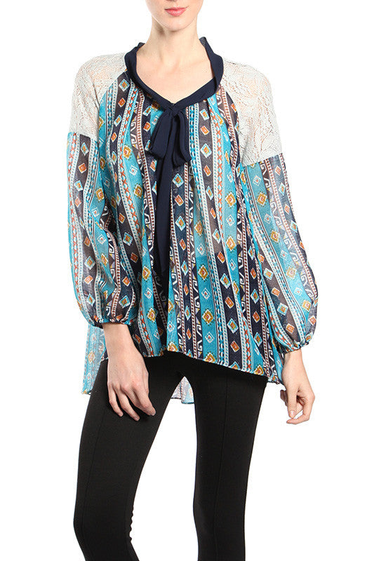 Flowy Tribal Printed Top with Lace Shoulders