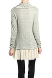 Pom Pom Trim Geo Embroidered Cowl Neck Top