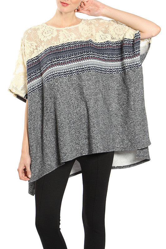 Poncho Lace Top