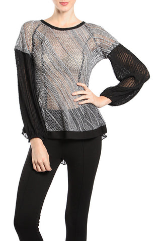 Chiffon Contrast Semi Sheer Top with Button Accent