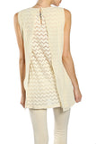 Ciffon Overlay Sleeveless Lace Top with Beaded Neckline