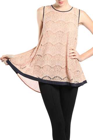 Bow Detail Pleated Back Lace Top