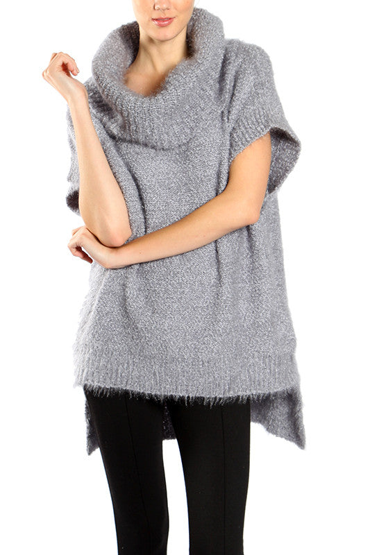 High-Low Sweater Top with Cowl Neck