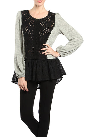 Centered Lace Sweater Top with Lace Bottom