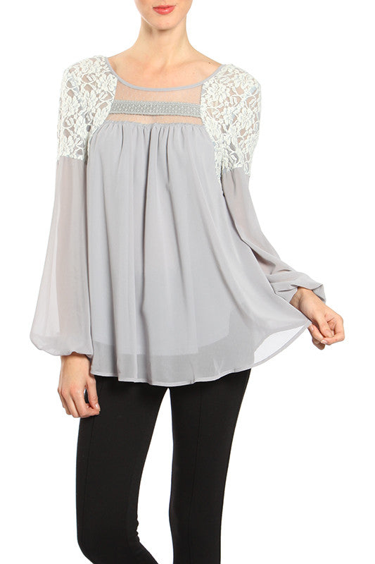 Lace Inset Chiffon Top with Open Back