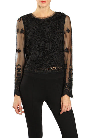 Textured Top with Floral Mesh Sleeve