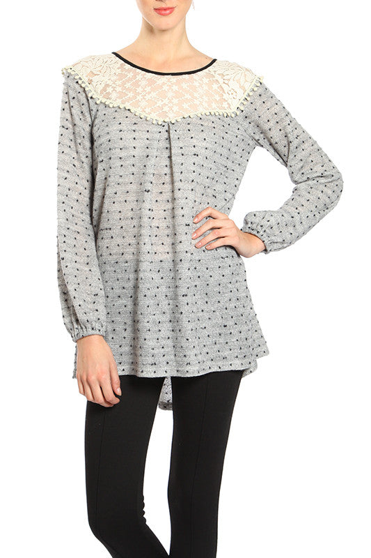 Dotted Long Sleeve Top with Bow Tie on the Back