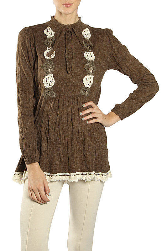 Crochet Embroidered Long Sleeve Tunic