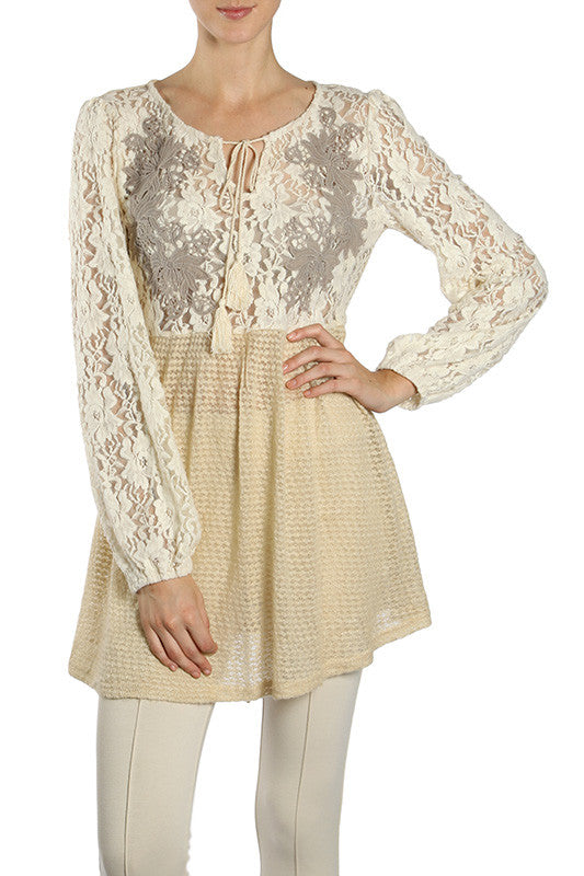 Embroidered Floral Lace Contrast Tunic