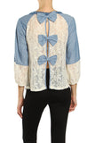 Bow Detail Lace Contrast Denim Top