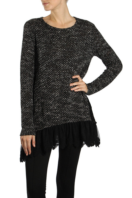 Lace Trim Melange Sweater with Crochet Embroidered Panel