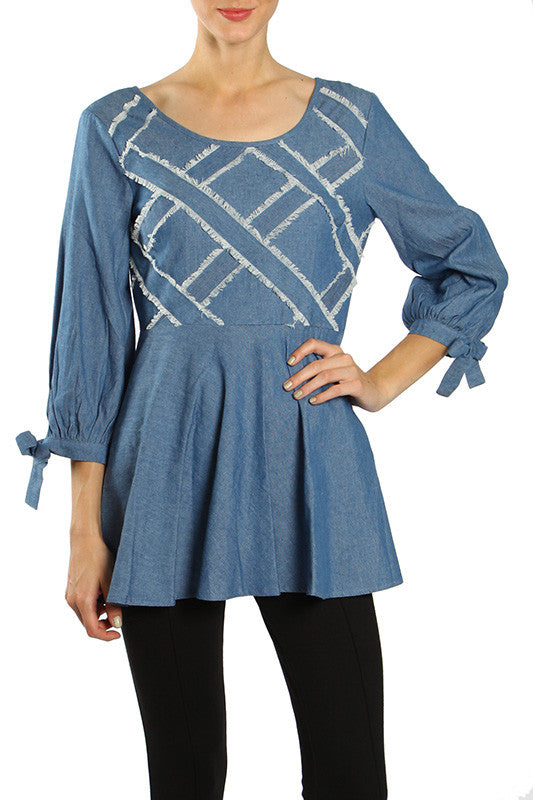 Ribbon Detail Fringe Denim Tunic