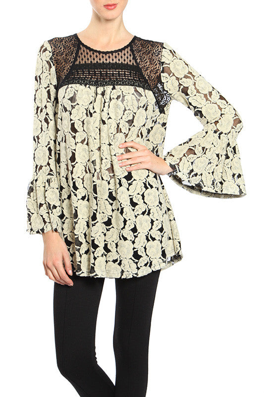 Floral Embroidered Lace Top