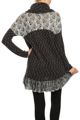 Floral Embroidered Dotted Turtle Neck Top
