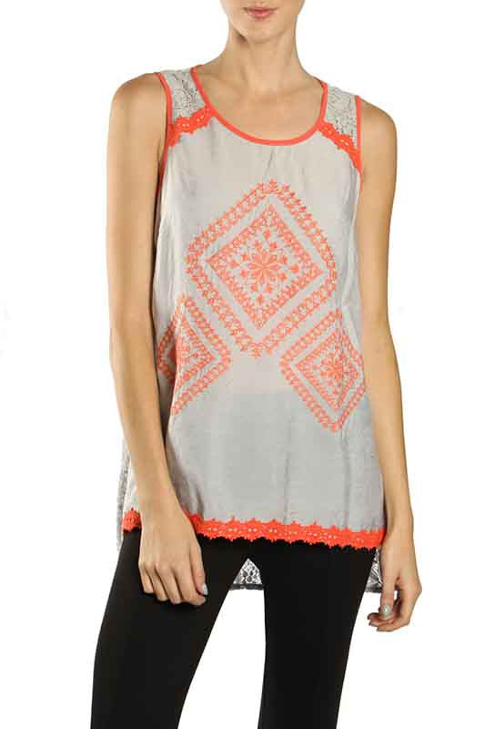 Ikat Print Sleeveless Top with Lace Back
