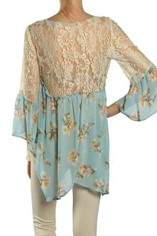 Floral Print Chiffon Top with Bell Sleeves