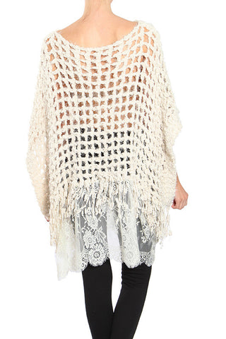 Poncho Sweater with Lace Bottom