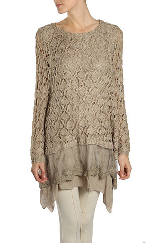 Long Sleeve Knitted Top with Lace Bottom