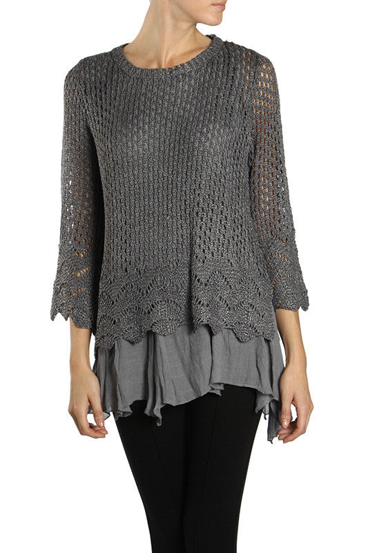 Long Sleeve Knit Overlay Top with Bow Tie on the Back