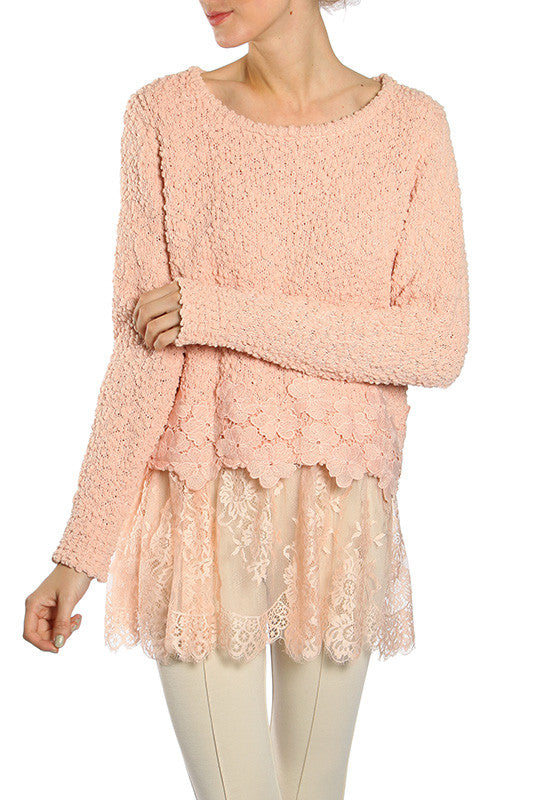 Floral Crochet Accent Sweater with Lace Hem