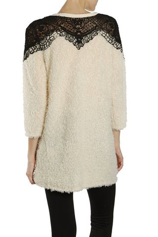 2 Tone Sweater with lace Neck Line