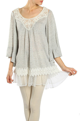 Polka Dot Lace Contrast Tunic with Crochet Detail