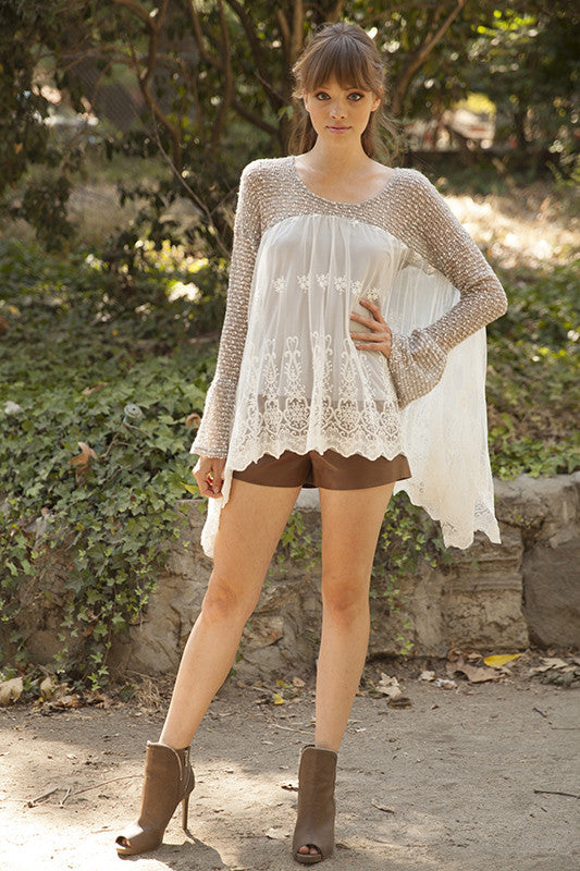 Lace Bottom Long Sleeve Top