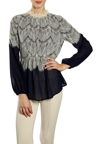 Eyelash Lace Chiffon Top with Button Back