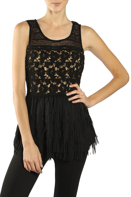 Tiered Fringe Top Crochet Detail