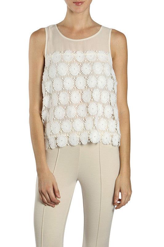 Sleeveless Top with Crochet Overlay
