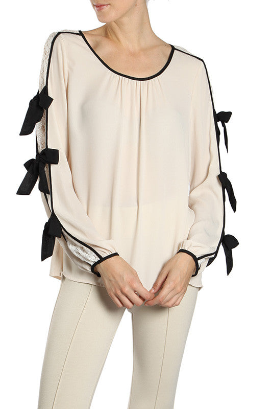 Lace Inset Blouson Top with Ribbon Detail